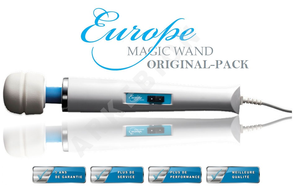 Europe Magic Wand® - Original-Pack : Tête de massage identique à l'Hitachi Magic Wand HV250R + 2 embouts + garantie portée à 5 ans