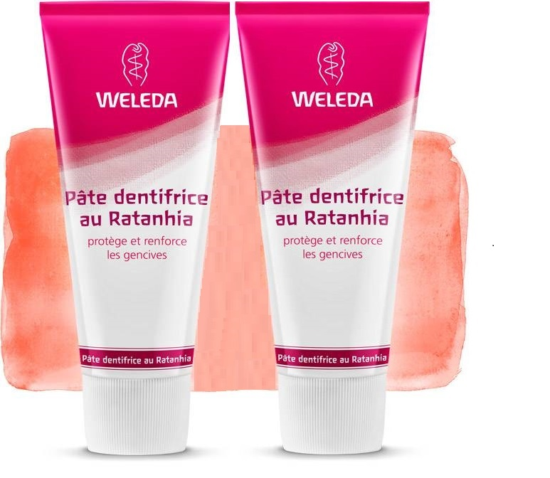 2 Dentifrices Naturel Weleda au Ratanhia (Made in Germany)